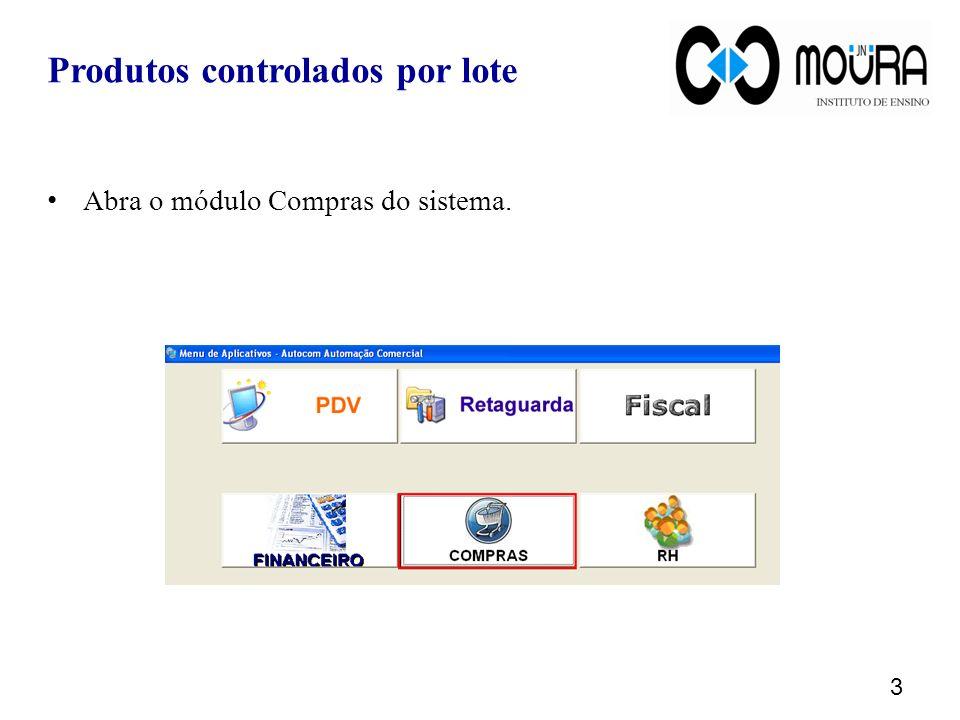 Ao informar um produto controlado por lote ele será exibido na grade.