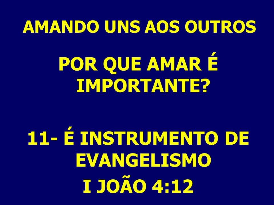 AMANDO UNS AOS OUTROS POR QUE AMAR É IMPORTANTE? 11- É INSTRUMENTO DE EVANGELISMO I JOÃO 4:12