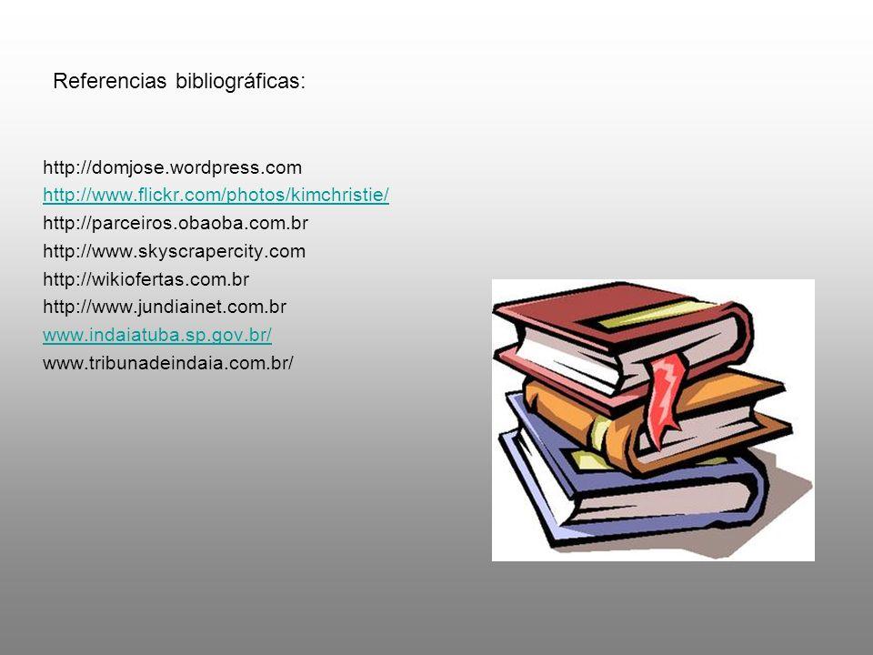 Referencias bibliográficas: http://domjose.wordpress.com http://www.flickr.com/photos/kimchristie/ http://parceiros.obaoba.com.br http://www.skyscrape