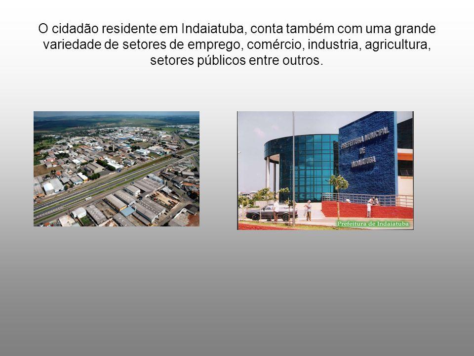O cidadão residente em Indaiatuba, conta também com uma grande variedade de setores de emprego, comércio, industria, agricultura, setores públicos ent