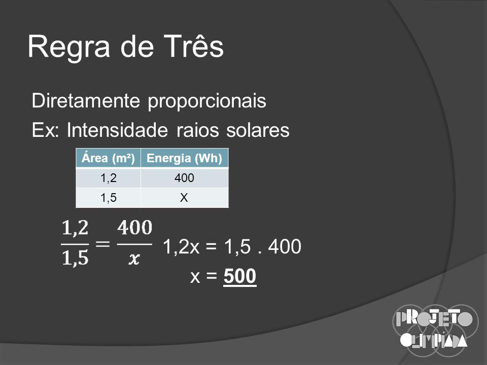 Regra de Três Diretamente proporcionais Ex: Intensidade raios solares 1,2x = 1,5.