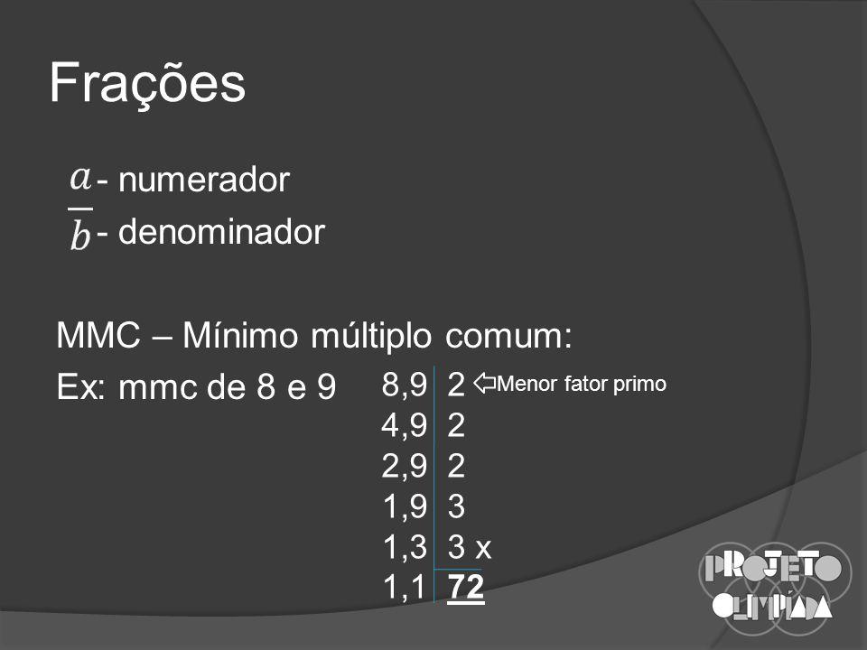 Frações - numerador - denominador MMC – Mínimo múltiplo comum: Ex: mmc de 8 e 9 8,9 2 4,9 2 2,9 2 1,9 3 1,3 3 x 1,1 72 Menor fator primo