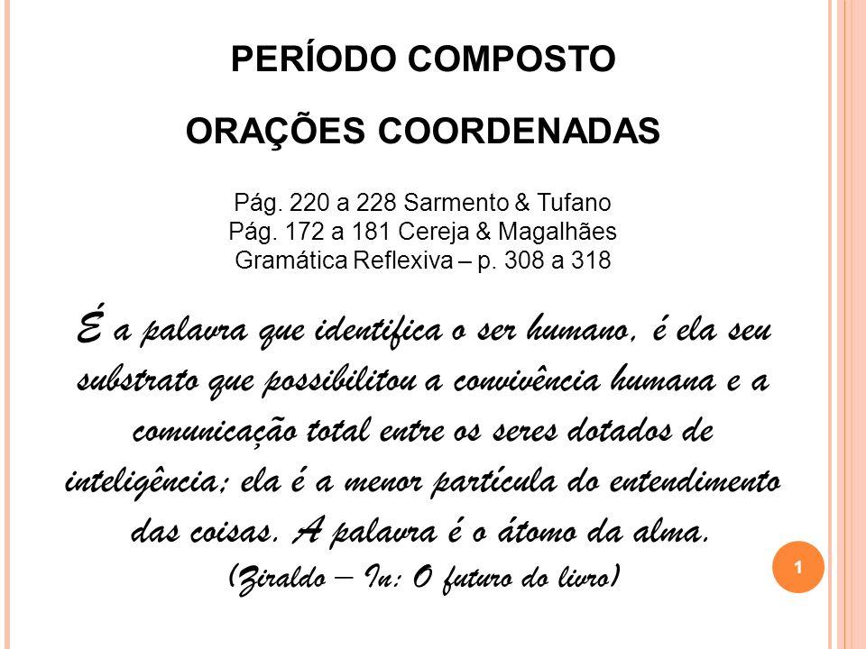 PERÍODO COMPOSTO ORAÇÕES COORDENADAS Pág. 220 a 228 Sarmento & Tufano Pág. 172 a 181 Cereja & Magalhães Gramática Reflexiva – p. 308 a 318 É a palavra