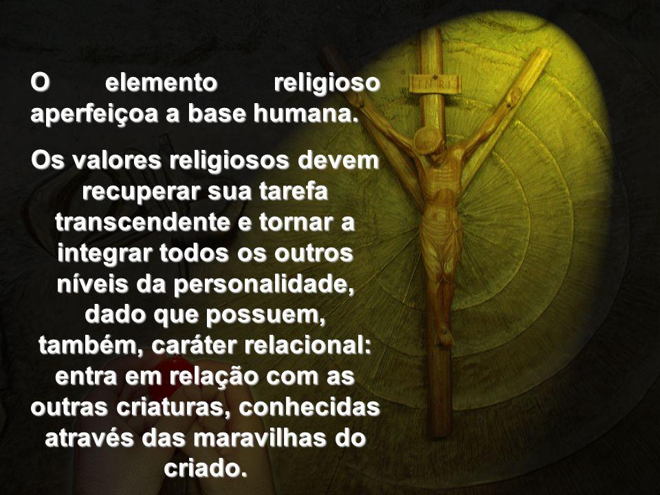 O elemento religioso aperfeiçoa a base humana. Os valores religiosos devem recuperar sua tarefa transcendente e tornar a integrar todos os outros níve