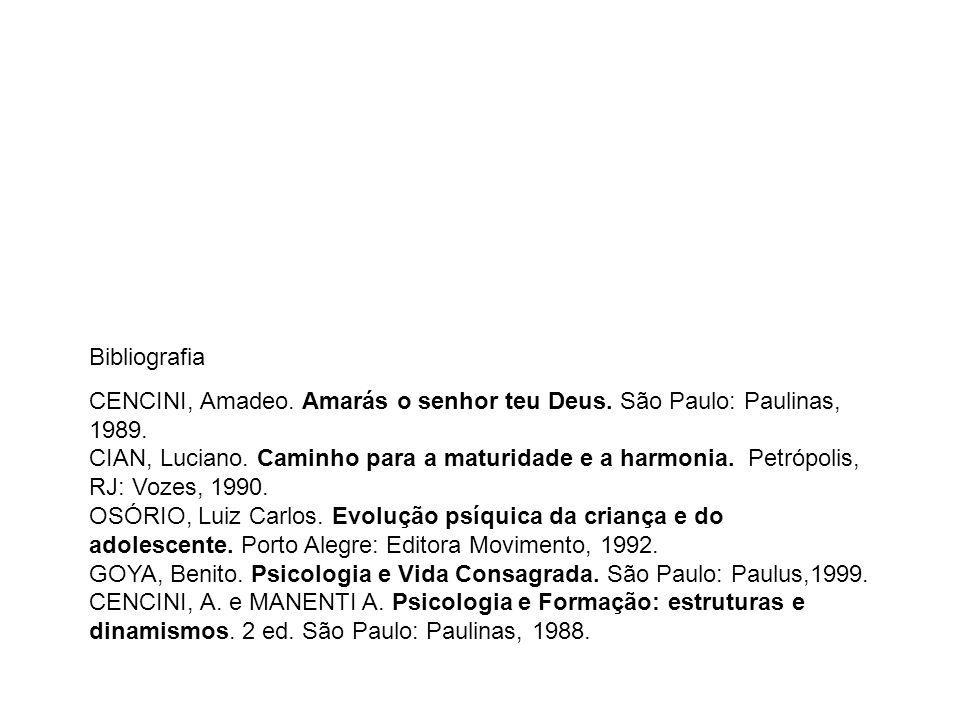 Bibliografia CENCINI, Amadeo. Amarás o senhor teu Deus. São Paulo: Paulinas, 1989. CIAN, Luciano. Caminho para a maturidade e a harmonia. Petrópolis,