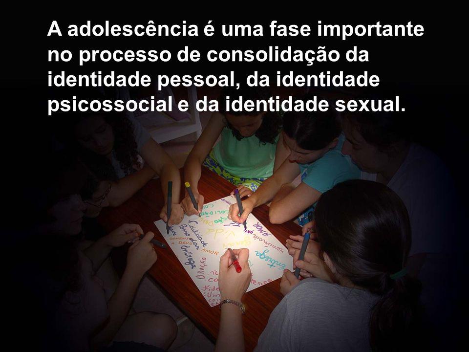 A adolescência é uma fase importante no processo de consolidação da identidade pessoal, da identidade psicossocial e da identidade sexual.