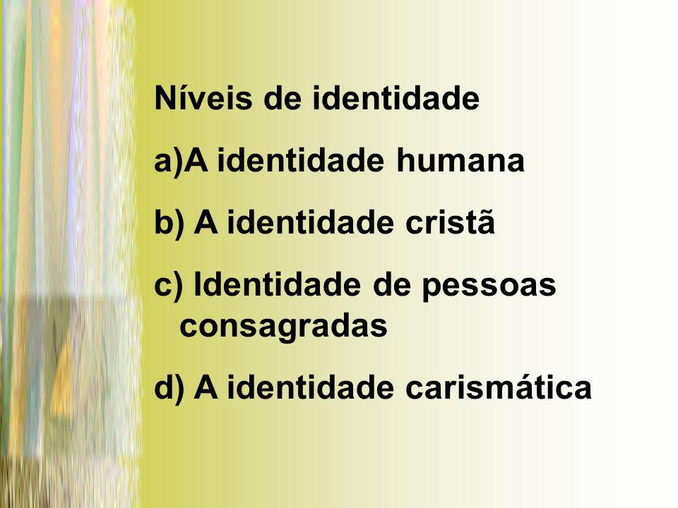 Níveis de identidade a)A identidade humana b) A identidade cristã c) Identidade de pessoas consagradas d) A identidade carismática