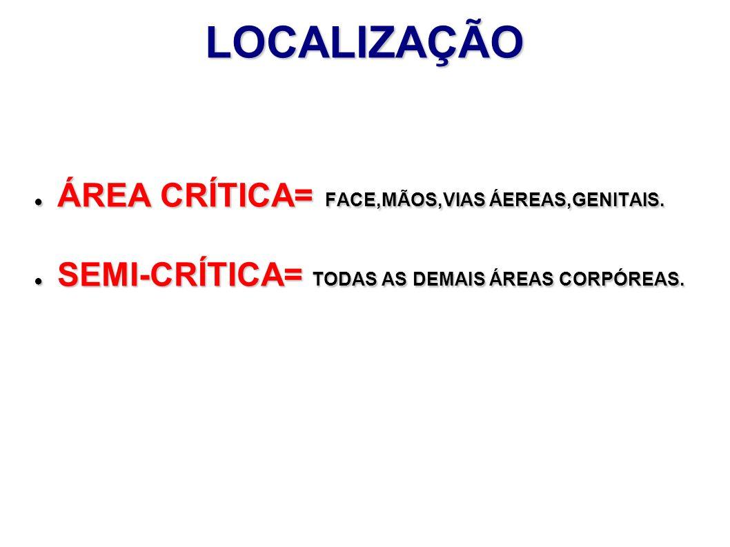 LOCALIZAÇÃO ÁREA CRÍTICA= FACE,MÃOS,VIAS ÁEREAS,GENITAIS. ÁREA CRÍTICA= FACE,MÃOS,VIAS ÁEREAS,GENITAIS. SEMI-CRÍTICA= TODAS AS DEMAIS ÁREAS CORPÓREAS.