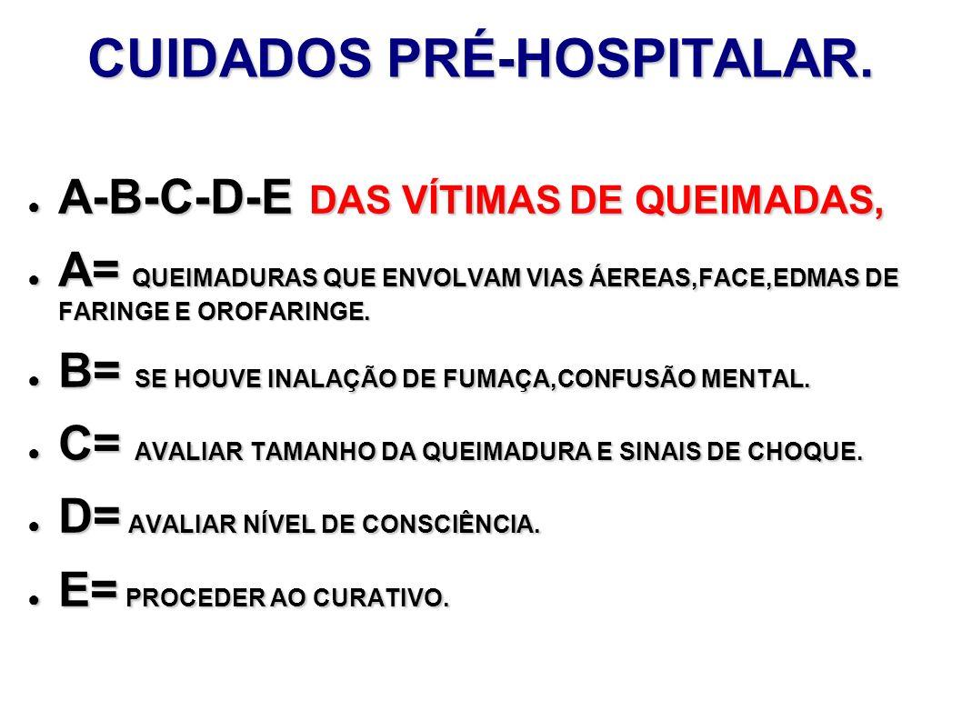 CUIDADOS PRÉ-HOSPITALAR. A-B-C-D-E DAS VÍTIMAS DE QUEIMADAS, A-B-C-D-E DAS VÍTIMAS DE QUEIMADAS, A= QUEIMADURAS QUE ENVOLVAM VIAS ÁEREAS,FACE,EDMAS DE