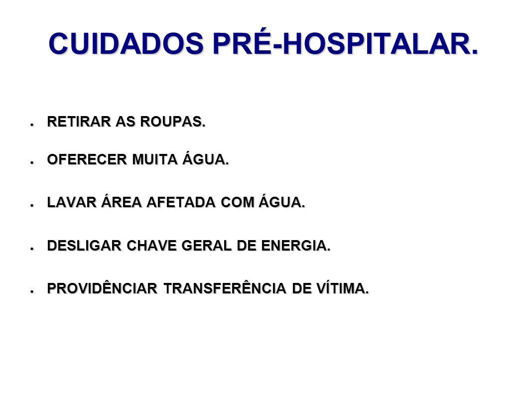 CUIDADOS PRÉ-HOSPITALAR. RETIRAR AS ROUPAS. RETIRAR AS ROUPAS. OFERECER MUITA ÁGUA. OFERECER MUITA ÁGUA. LAVAR ÁREA AFETADA COM ÁGUA. LAVAR ÁREA AFETA