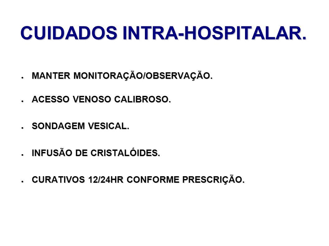 CUIDADOS INTRA-HOSPITALAR. MANTER MONITORAÇÃO/OBSERVAÇÃO. MANTER MONITORAÇÃO/OBSERVAÇÃO. ACESSO VENOSO CALIBROSO. ACESSO VENOSO CALIBROSO. SONDAGEM VE