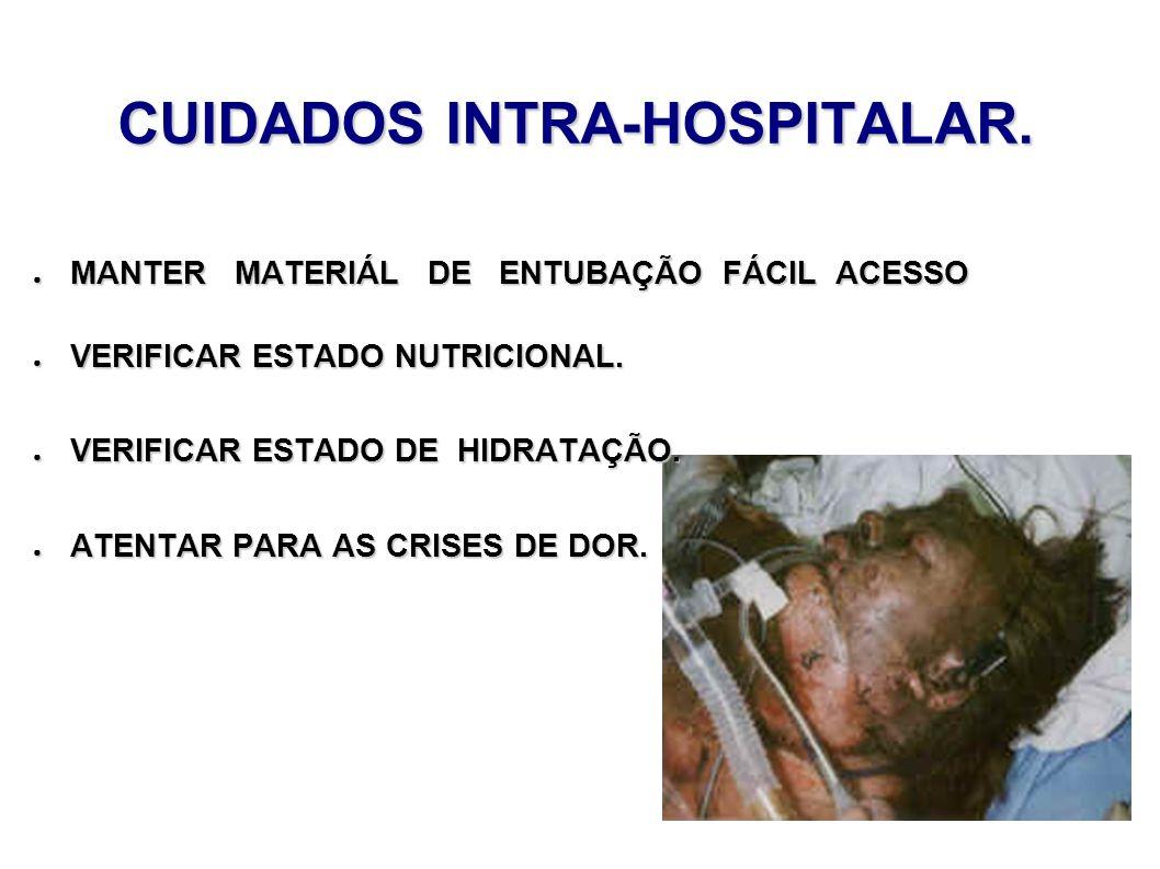CUIDADOS INTRA-HOSPITALAR. MANTER MATERIÁL DE ENTUBAÇÃO FÁCIL ACESSO MANTER MATERIÁL DE ENTUBAÇÃO FÁCIL ACESSO VERIFICAR ESTADO NUTRICIONAL. VERIFICAR