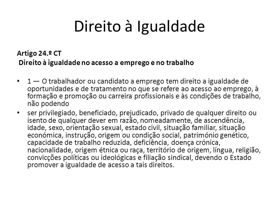 Direito à Igualdade Artigo 24.º CT Direito à igualdade no acesso a emprego e no trabalho 1 O trabalhador ou candidato a emprego tem direito a igualdad