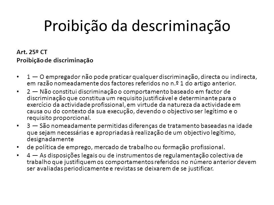 Proibição da descriminação Art. 25º CT Proibição de discriminação 1 O empregador não pode praticar qualquer discriminação, directa ou indirecta, em ra