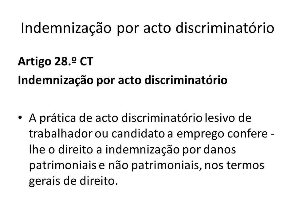 Indemnização por acto discriminatório Artigo 28.º CT Indemnização por acto discriminatório A prática de acto discriminatório lesivo de trabalhador ou