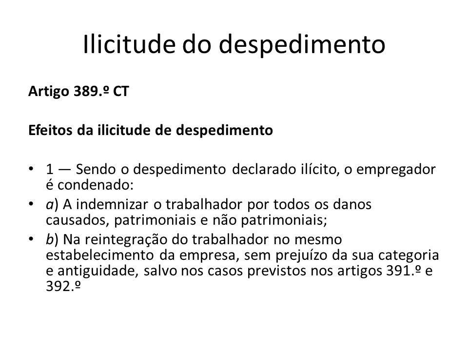Ilicitude do despedimento Artigo 389.º CT Efeitos da ilicitude de despedimento 1 Sendo o despedimento declarado ilícito, o empregador é condenado: a)