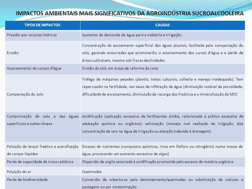 IMPACTOS AMBIENTAIS MAIS SIGNIFICATIVOS DA AGROINDÚSTRIA SUCROALCOOLEIRA TIPOS DE IMPACTOSCAUSAS Pressão aos recursos hídricosAumento da demanda de ág