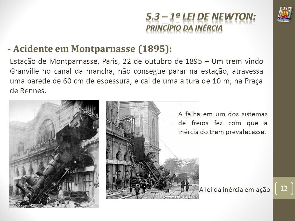 - Acidente em Montparnasse (1895): Estação de Montparnasse, Paris, 22 de outubro de 1895 – Um trem vindo Granville no canal da mancha, não consegue parar na estação, atravessa uma parede de 60 cm de espessura, e cai de uma altura de 10 m, na Praça de Rennes.