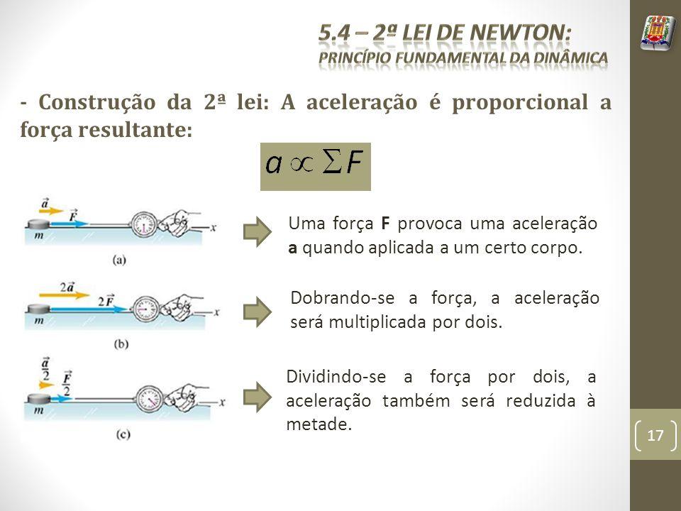 - Construção da 2ª lei: A aceleração é proporcional a força resultante: Uma força F provoca uma aceleração a quando aplicada a um certo corpo. Dobrand