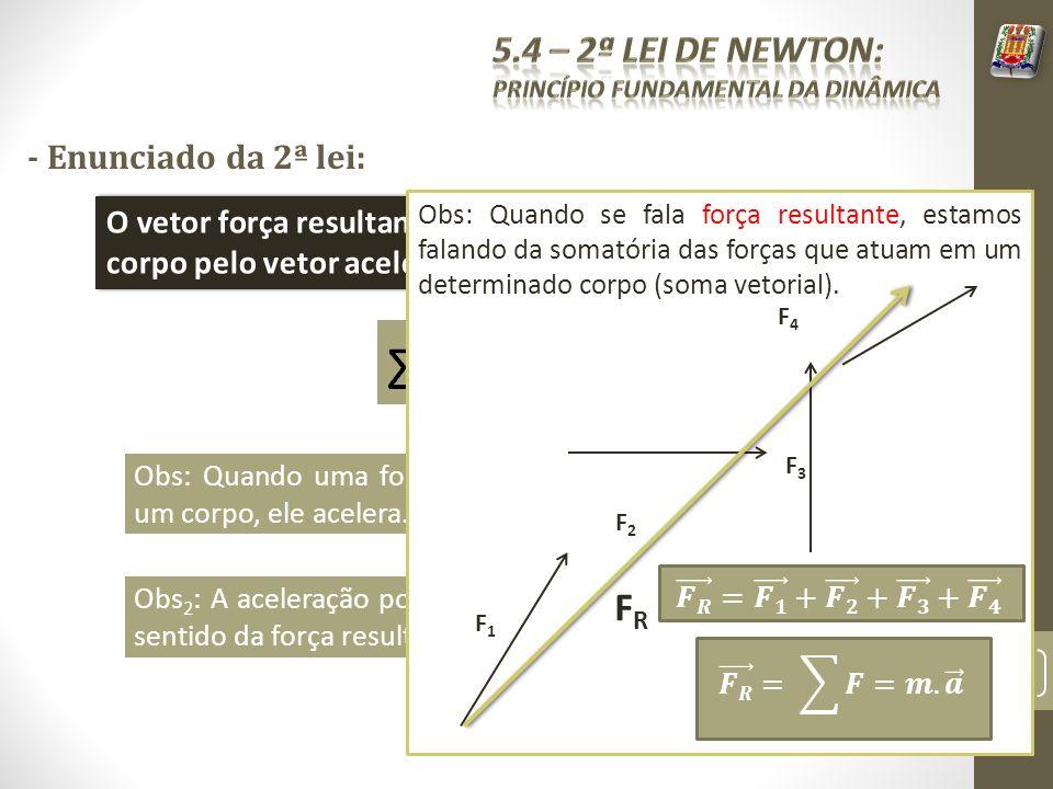 - Enunciado da 2ª lei: O vetor força resultante é igual ao produto da massa do corpo pelo vetor aceleração do corpo. Obs: Quando uma força resultante