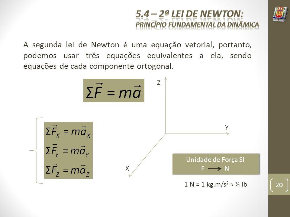 A segunda lei de Newton é uma equação vetorial, portanto, podemos usar três equações equivalentes a ela, sendo equações de cada componente ortogonal.
