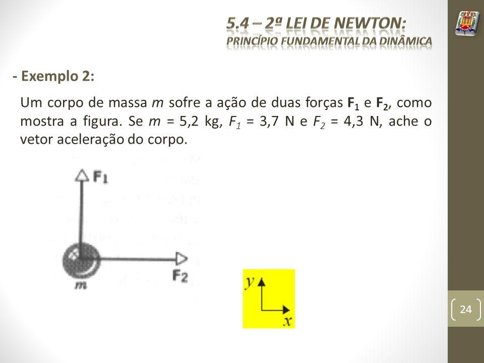 - Exemplo 2: Um corpo de massa m sofre a ação de duas forças F 1 e F 2, como mostra a figura. Se m = 5,2 kg, F 1 = 3,7 N e F 2 = 4,3 N, ache o vetor a