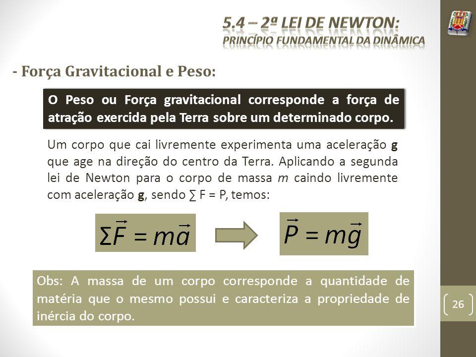 - Força Gravitacional e Peso: O Peso ou Força gravitacional corresponde a força de atração exercida pela Terra sobre um determinado corpo. Obs: A mass