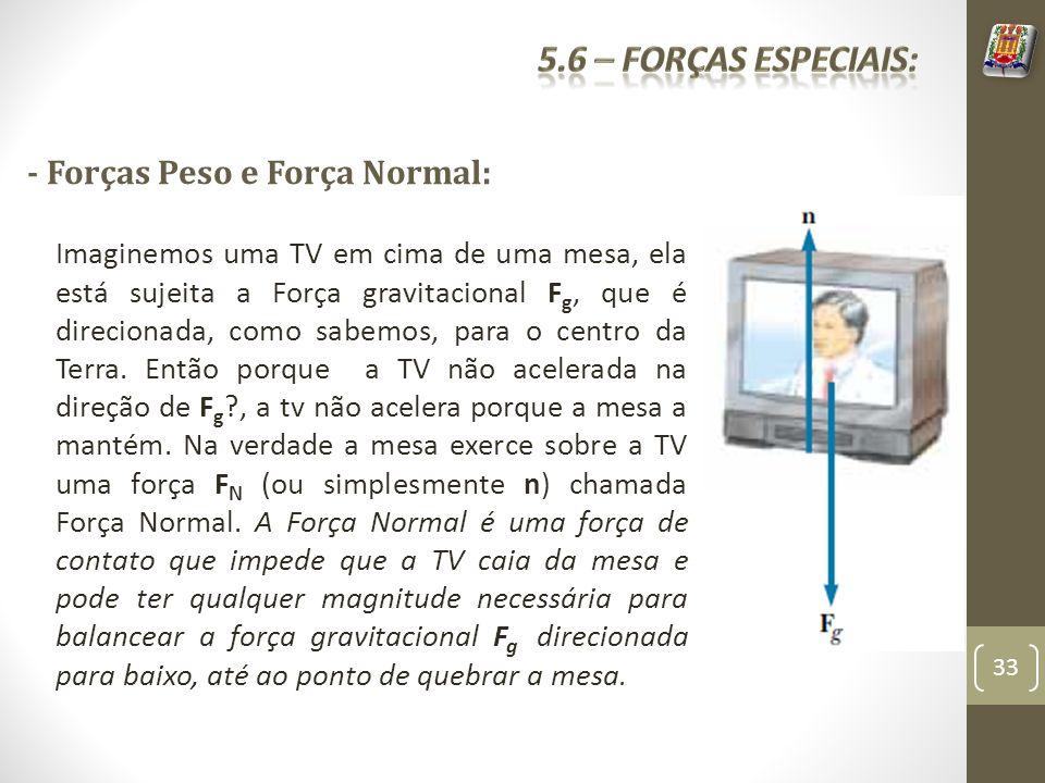 - Forças Peso e Força Normal: Imaginemos uma TV em cima de uma mesa, ela está sujeita a Força gravitacional F g, que é direcionada, como sabemos, para