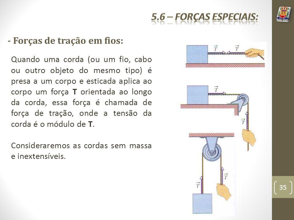 - Forças de tração em fios: Quando uma corda (ou um fio, cabo ou outro objeto do mesmo tipo) é presa a um corpo e esticada aplica ao corpo um força T orientada ao longo da corda, essa força é chamada de força de tração, onde a tensão da corda é o módulo de T.