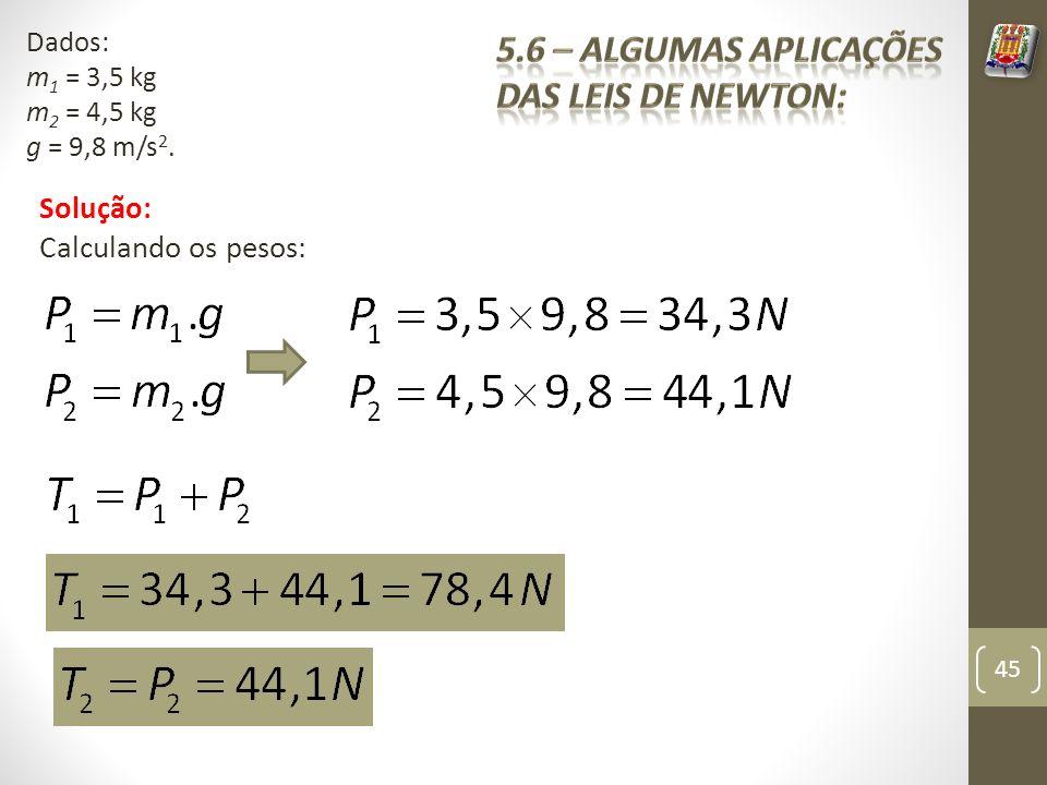 Solução: Calculando os pesos: 45 Dados: m 1 = 3,5 kg m 2 = 4,5 kg g = 9,8 m/s 2.