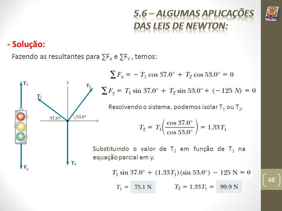 - Solução: Fazendo as resultantes para F X e F Y, temos: Resolvendo o sistema, podemos isolar T 1 ou T 2. Substituindo o valor de T 2 em função de T 1