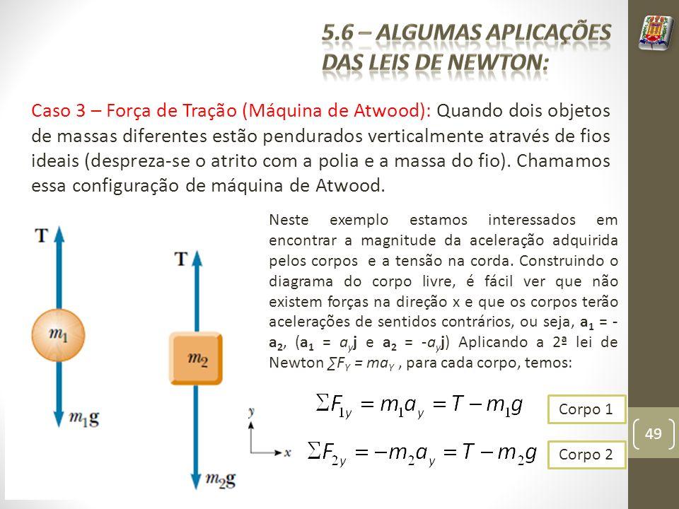 Caso 3 – Força de Tração (Máquina de Atwood): Quando dois objetos de massas diferentes estão pendurados verticalmente através de fios ideais (despreza-se o atrito com a polia e a massa do fio).