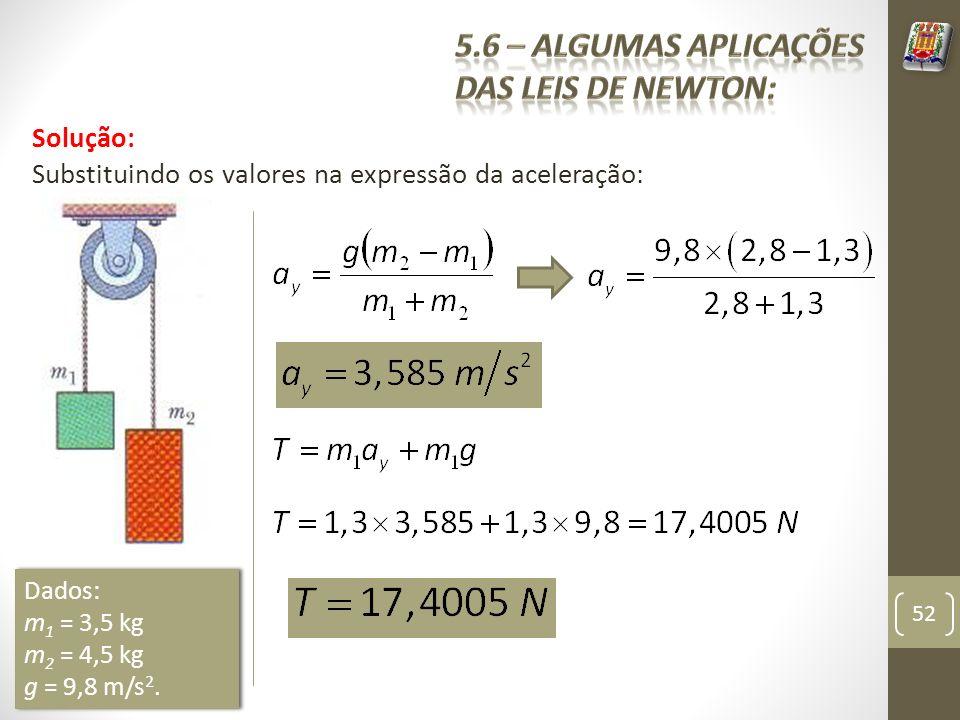 Solução: Substituindo os valores na expressão da aceleração: 52 Dados: m 1 = 3,5 kg m 2 = 4,5 kg g = 9,8 m/s 2. Dados: m 1 = 3,5 kg m 2 = 4,5 kg g = 9
