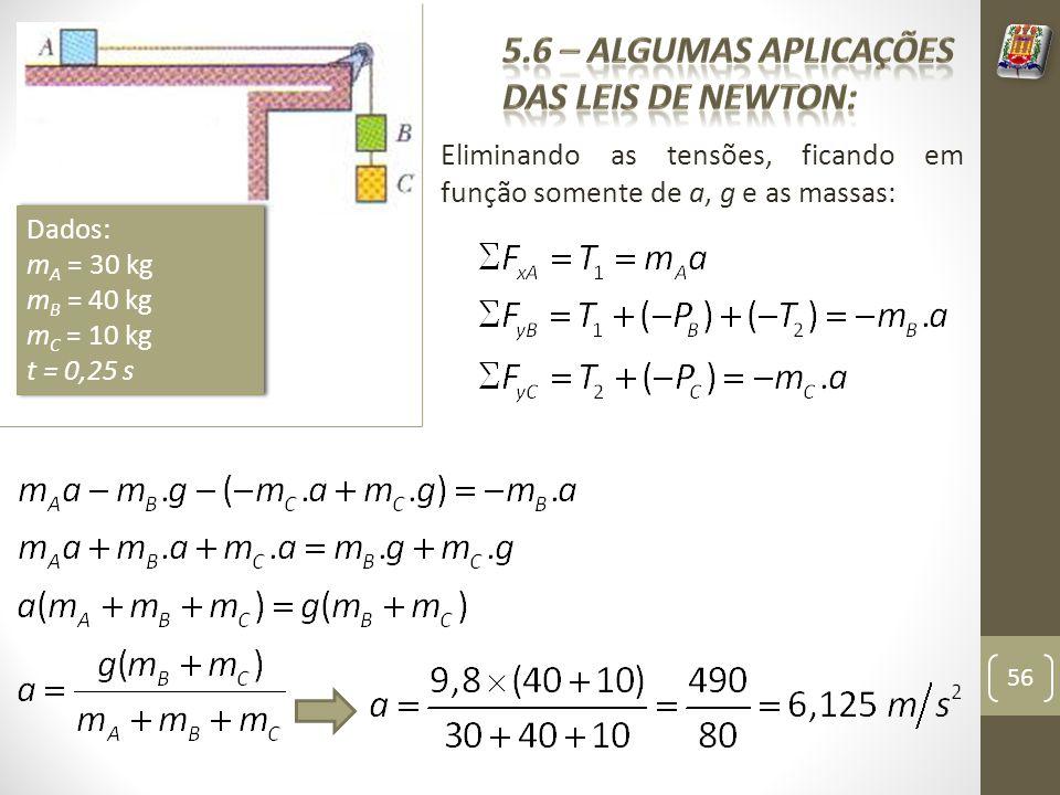 Eliminando as tensões, ficando em função somente de a, g e as massas: 56 Dados: m A = 30 kg m B = 40 kg m C = 10 kg t = 0,25 s Dados: m A = 30 kg m B