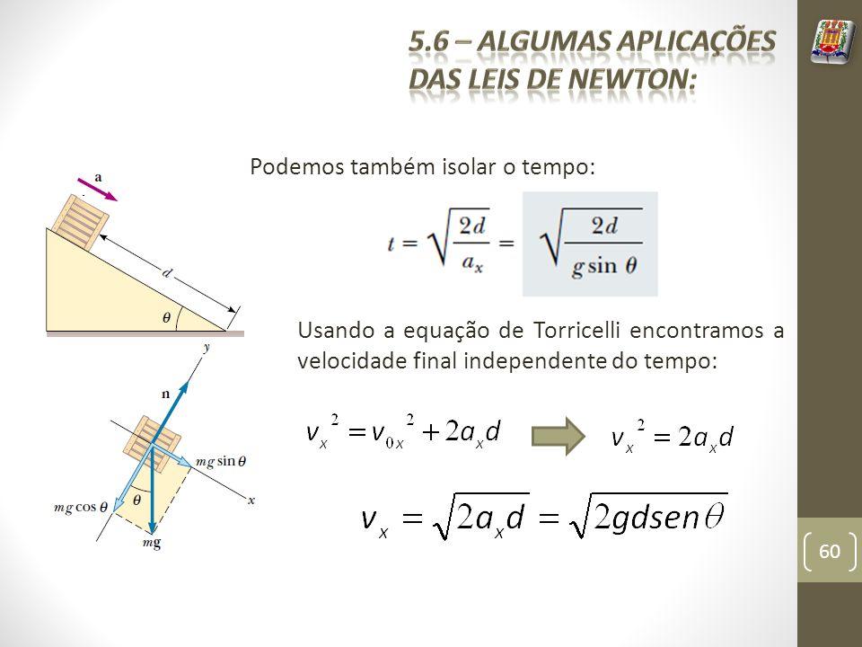 Podemos também isolar o tempo: Usando a equação de Torricelli encontramos a velocidade final independente do tempo: 60