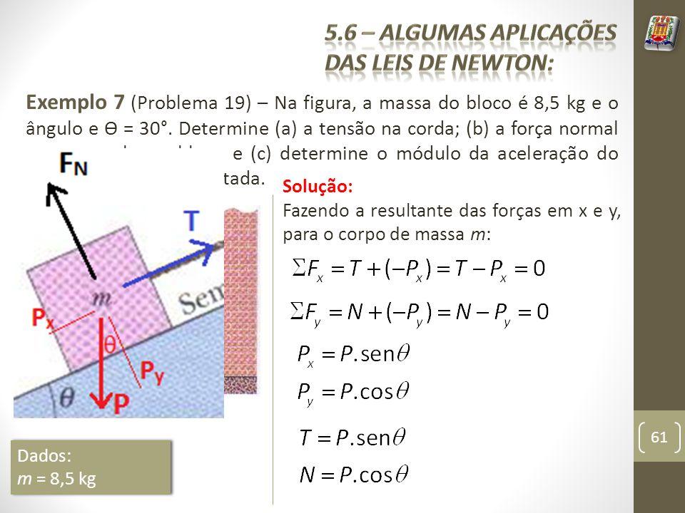 Exemplo 7 (Problema 19) – Na figura, a massa do bloco é 8,5 kg e o ângulo e Ɵ = 30°. Determine (a) a tensão na corda; (b) a força normal que age sobre
