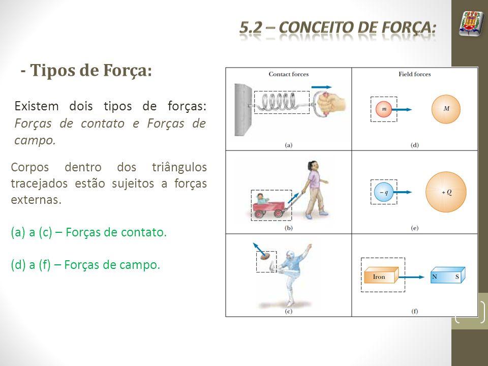 - Tipos de Força: Existem dois tipos de forças: Forças de contato e Forças de campo. Corpos dentro dos triângulos tracejados estão sujeitos a forças e