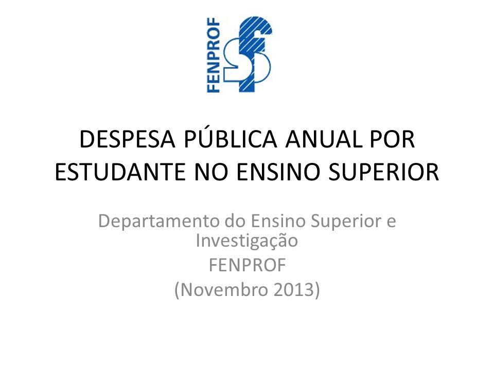 DESPESA PÚBLICA ANUAL POR ESTUDANTE NO ENSINO SUPERIOR Departamento do Ensino Superior e Investigação FENPROF (Novembro 2013)