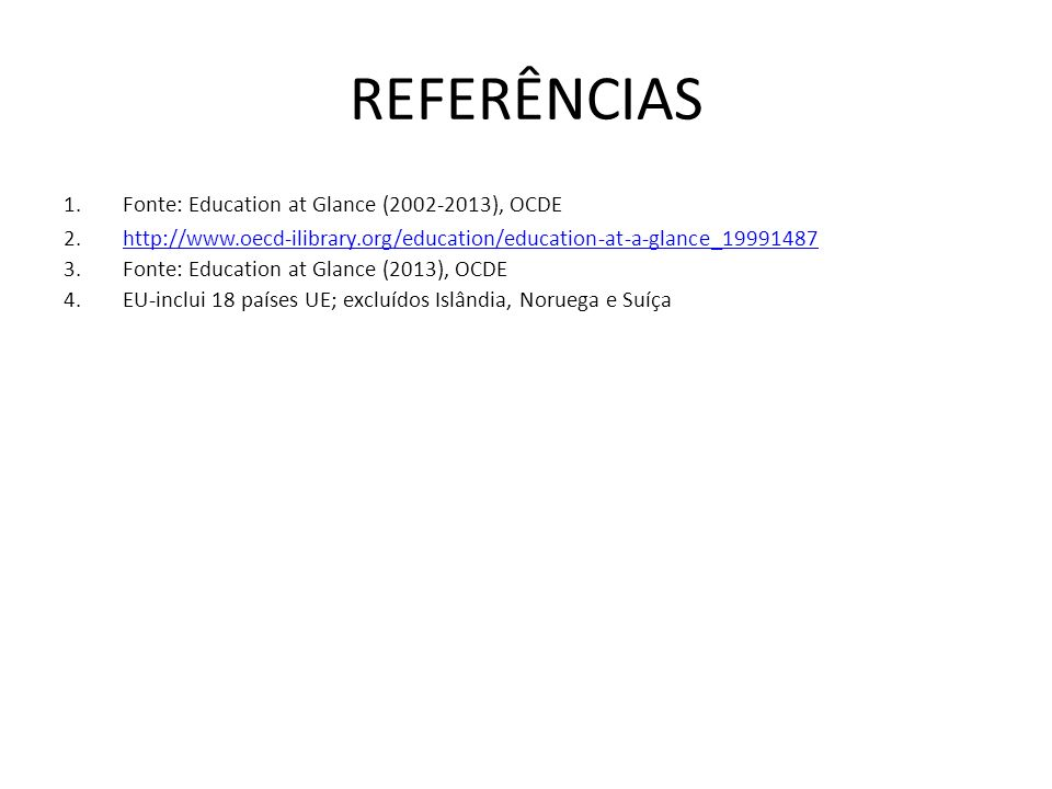 REFERÊNCIAS 1.Fonte: Education at Glance (2002-2013), OCDE 2.http://www.oecd-ilibrary.org/education/education-at-a-glance_19991487http://www.oecd-ilibrary.org/education/education-at-a-glance_19991487 3.Fonte: Education at Glance (2013), OCDE 4.EU-inclui 18 países UE; excluídos Islândia, Noruega e Suíça
