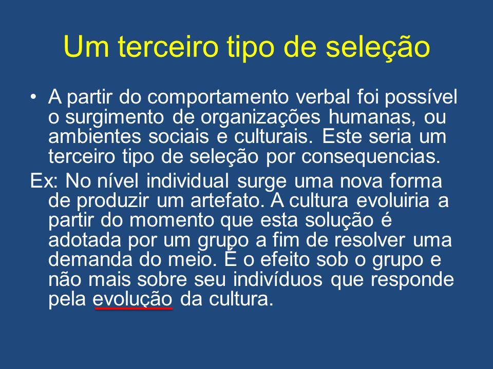 Um terceiro tipo de seleção A partir do comportamento verbal foi possível o surgimento de organizações humanas, ou ambientes sociais e culturais.