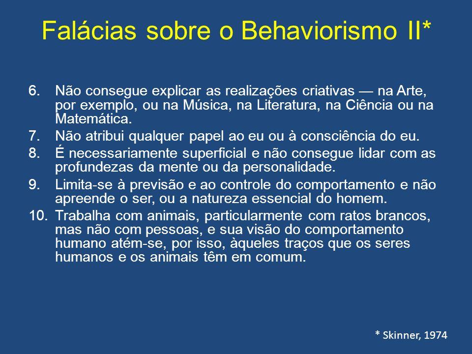 Falácias sobre o Behaviorismo II* 6.Não consegue explicar as realizações criativas na Arte, por exemplo, ou na Música, na Literatura, na Ciência ou na Matemática.