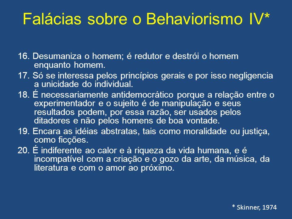 Falácias sobre o Behaviorismo IV* 16.