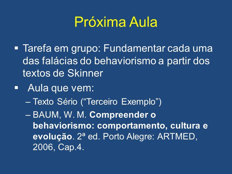 Próxima Aula Tarefa em grupo: Fundamentar cada uma das falácias do behaviorismo a partir dos textos de Skinner Aula que vem: –Texto Sério (Terceiro Exemplo) –BAUM, W.