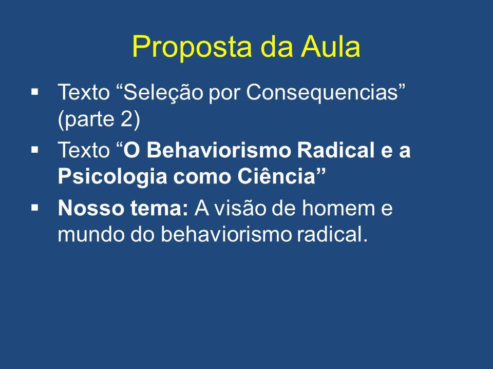 Proposta da Aula Texto Seleção por Consequencias (parte 2) Texto O Behaviorismo Radical e a Psicologia como Ciência Nosso tema: A visão de homem e mundo do behaviorismo radical.
