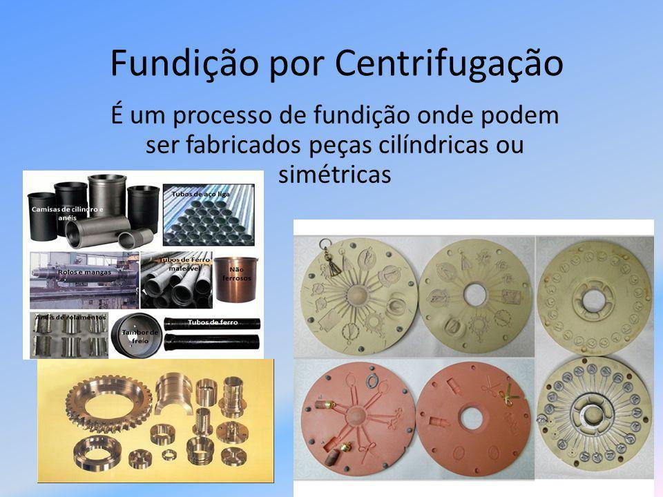 Fundição por Centrifugação É um processo de fundição onde podem ser fabricados peças cilíndricas ou simétricas