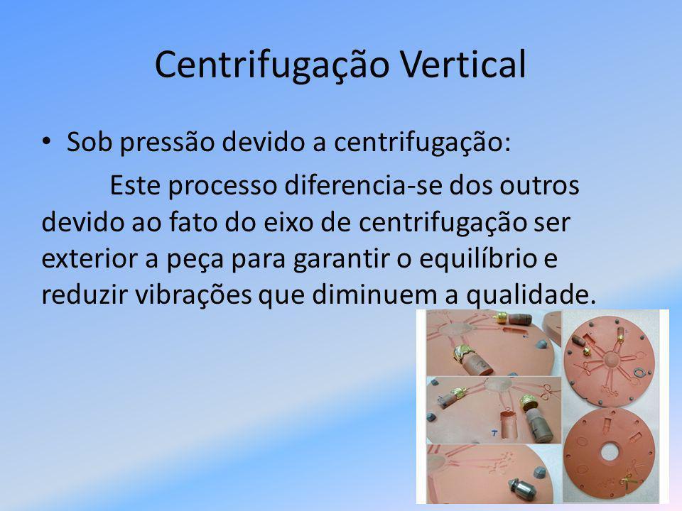 Variáveis do Processo Temperatura de vazamento Velocidade de derramamento do metal Velocidade de rotação da moldação Materiais utilizados