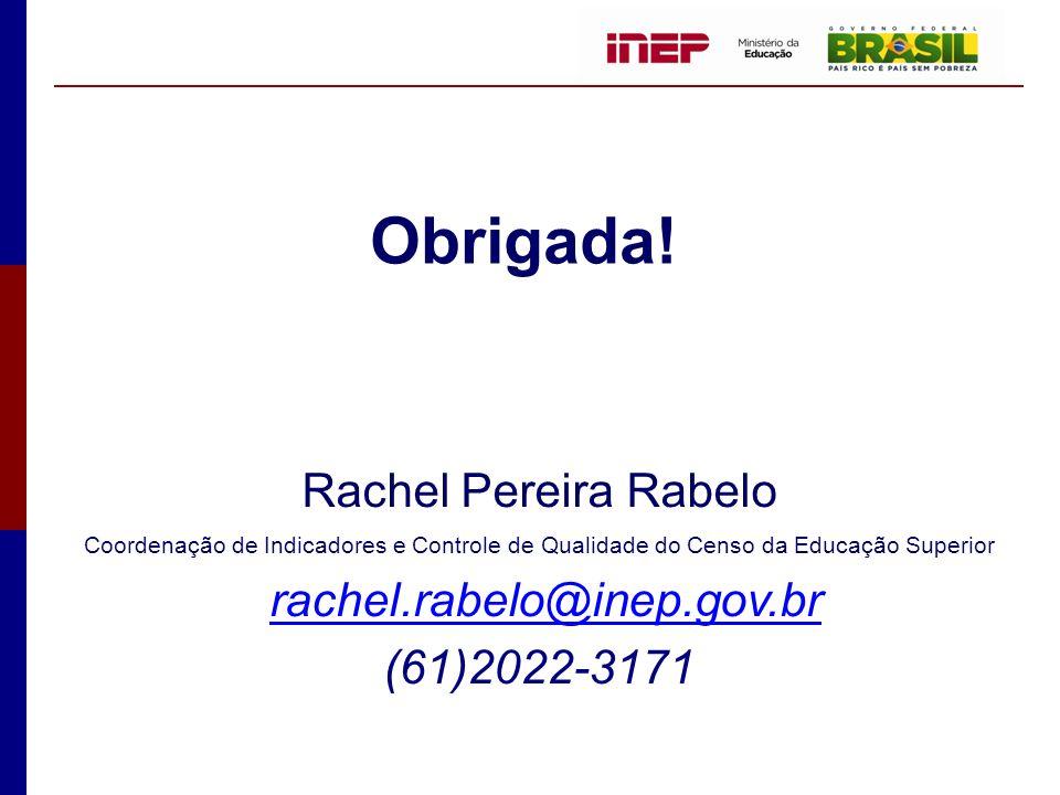 Rachel Pereira Rabelo Coordenação de Indicadores e Controle de Qualidade do Censo da Educação Superior rachel.rabelo@inep.gov.br (61)2022-3171 Obrigad