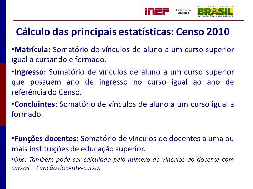 Cálculo das principais estatísticas: Censo 2010 Matrícula: Somatório de vínculos de aluno a um curso superior igual a cursando e formado. Ingresso: So