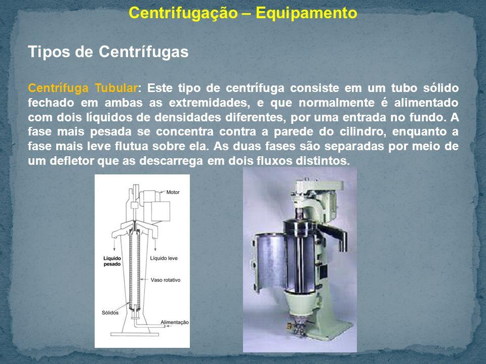 Centrifugação – Equipamento Tipos de Centrífugas Centrífuga Tubular: Este tipo de centrífuga consiste em um tubo sólido fechado em ambas as extremidades, e que normalmente é alimentado com dois líquidos de densidades diferentes, por uma entrada no fundo.