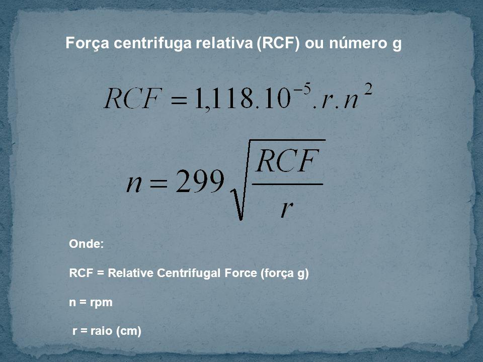 Onde: RCF = Relative Centrifugal Force (força g) n = rpm r = raio (cm) Força centrifuga relativa (RCF) ou número g